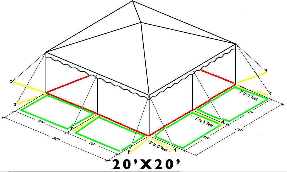 Tent renting information for 20 39 by 20 39 party tents for Square foot of 20x20